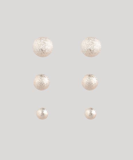 Kit-de-3-Brincos-Femininos-Folheados-Bolinha-Texturizado-Dourado-9116792-Dourado_1