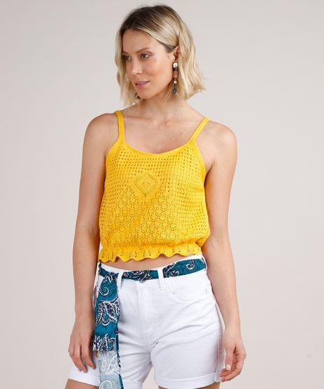 Regata-Feminina-Cropped-em-Croche-com-Babado-Alca-Fina-Decote-Redondo-Amarela-9691943-Amarelo_1
