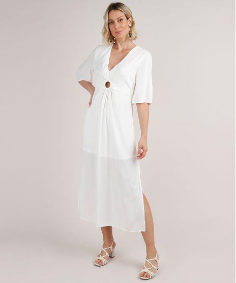 Vestido-Feminino-Midi-com-Argola-e-Fendas-Manga-Curta-Off-White-9704307-Off_White_1