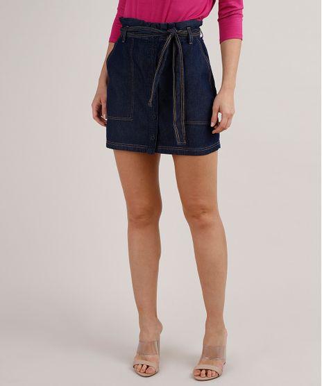 Saia-Jeans-Feminina-Clochard-Curta-com-Botoes-e-Faixa-Para-Amarrar-Azul-Escuro-9833560-Azul_Escuro_1