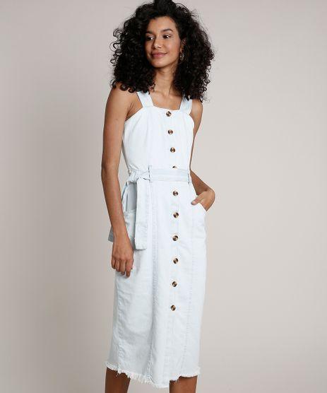 Vestido-Jeans-Feminino-Midi-com-Botoes-e-Faixa-para-Amarrar-Alca-Larga-Azul-Claro-9830494-Azul_Claro_1