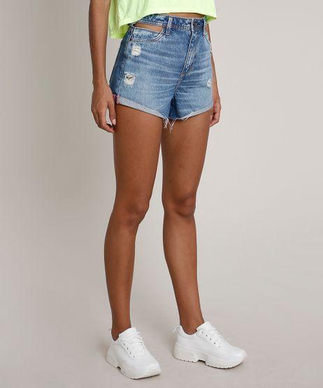 Short-Jeans-Feminino-com-Vazado-e-Rasgos--Cintura-Alta-Azul-Medio-9834406-Azul_Medio_1