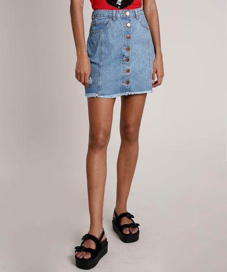 Saia-Jeans-Feminina-com-Botoes-Azul-Medio-9833798-Azul_Medio_1