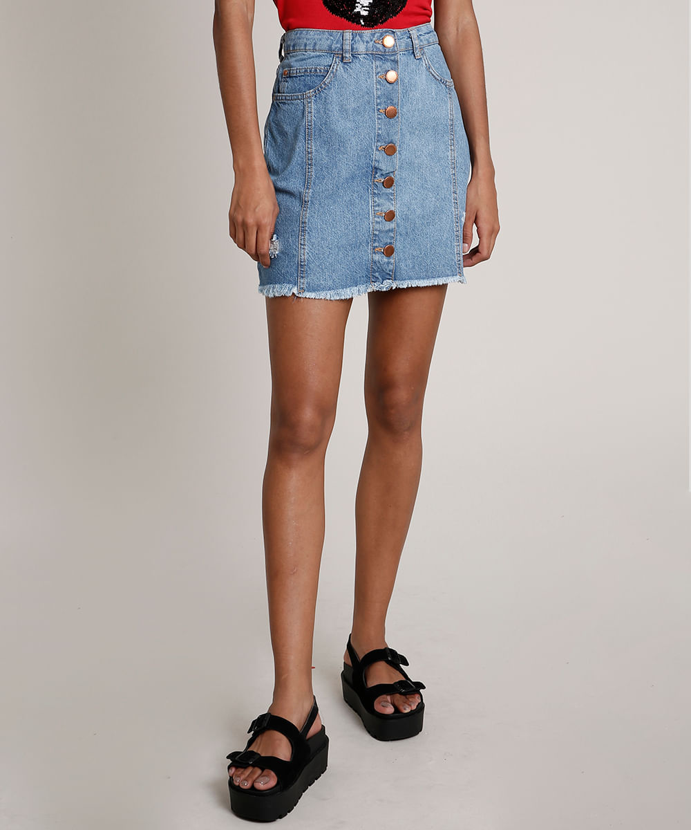 Saia Jeans Feminina com Botões Azul Médio