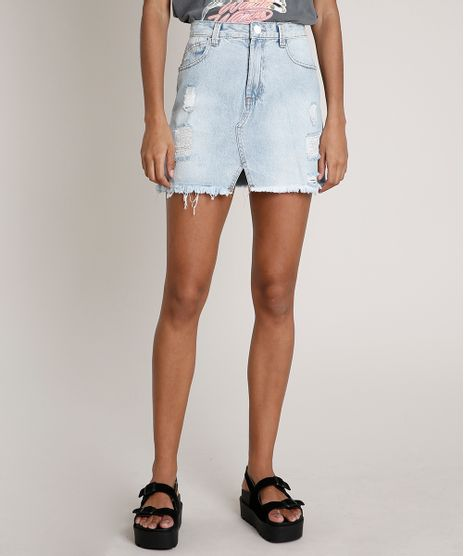 Saia-Jeans-Feminina-Curta-Destroyed-Azul-Claro-9835552-Azul_Claro_1