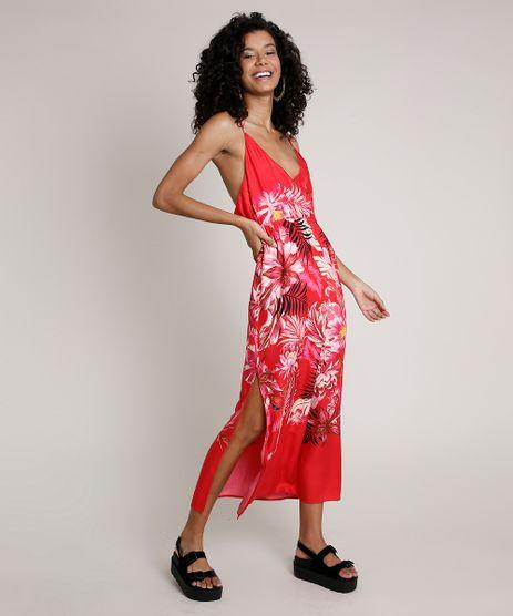 Vestido-Feminino-Midi-Estampado-Floral-com-Fenda-e-Transpasse-Alca-Fina-Vermelho-9681372-Vermelho_1
