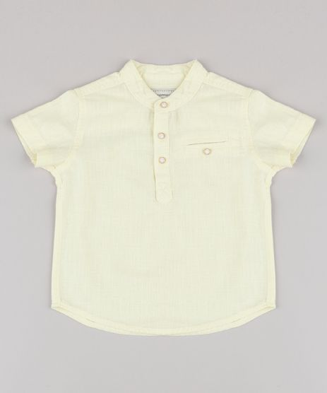 Camisa-Infantil-com-Bolso-Manga-Curta-Gola-Padre-Amarela-Claro-9670883-Amarelo_Claro_1