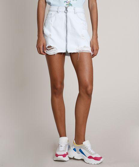 Saia-Jeans-Feminina-Curta-Destroyed-com-Ziper-de-Argola-Azul-Claro-9714241-Azul_Claro_1