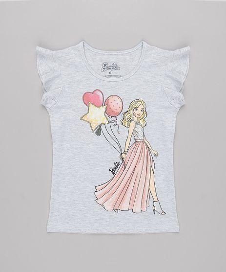 Blusa-Infantil-Barbie-com-Babado-na-Manga-Cinza-Mescla-Claro-9762715-Cinza_Mescla_Claro_1