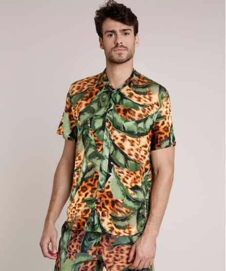 Camisa-Masculina-Agua-de-Coco-Tradicional-Estampada-Bananeira-Animal-Print-Onca-Manga-Curta-Caramelo-9727426-Caramelo_1