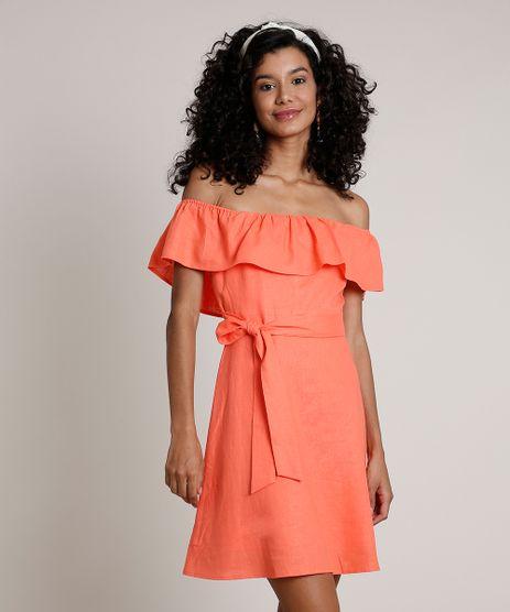 Vestido-Feminino-Curto-Ciganinha-com-Linho-e-Faixa-para-Amarrar--Coral-9674184-Coral_1
