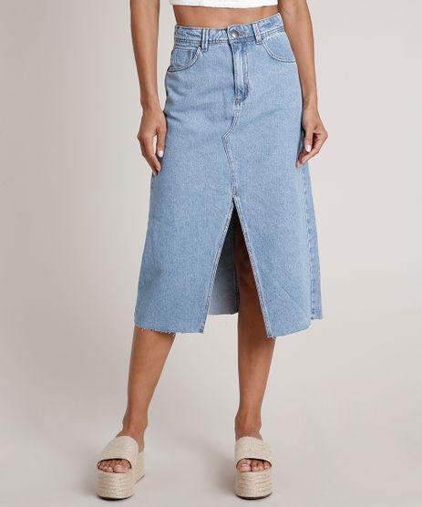Saia-Jeans-Feminina-Midi-com-Fenda-Azul-Claro-9834586-Azul_Claro_1