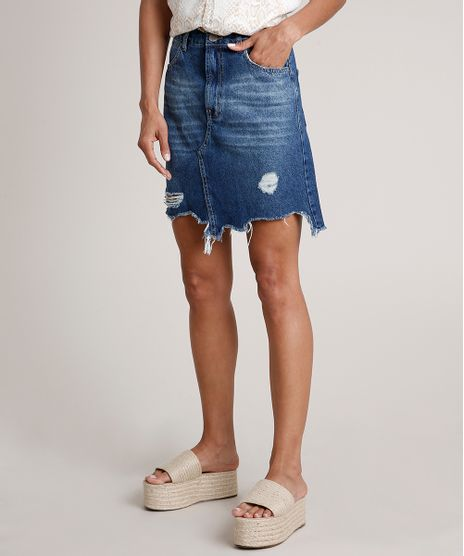 Saia-Jeans-Feminina-Curta-Destroyed-Azul-Medio-9834584-Azul_Medio_1