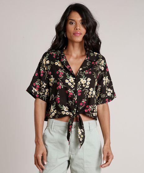 Camisa-Feminina-Cropped-Ampla-Estampada-Floral-com-No-Manga-Curta-Preta-9685670-Preto_1