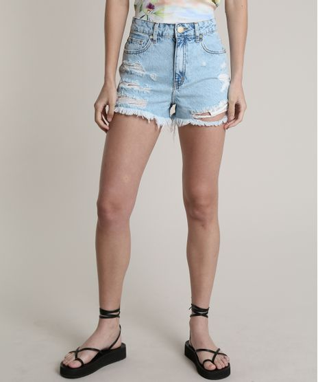Short-Jeans-Feminino-Blueman-Cintura-Super-Alta-Destroyed-Azul-Claro-9810525-Azul_Claro_1