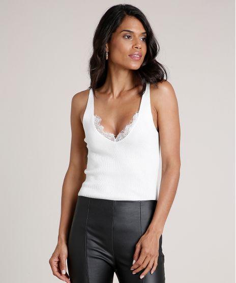 Regata-Feminina-em-Trico-com-Renda-Alca-Media-Decote-V-Off-White-9683666-Off_White_1