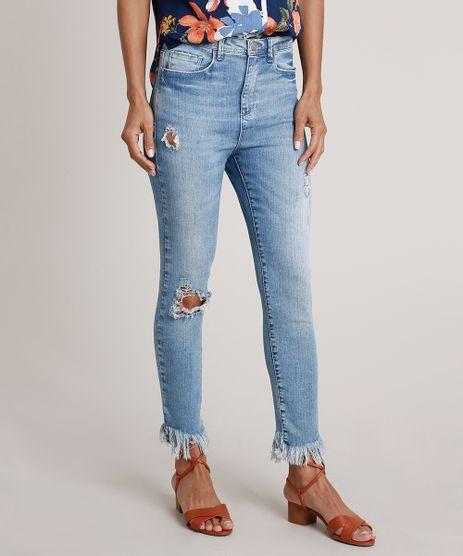Calca-Jeans-Feminina-Cigarrete-Cintura-Alta-com-Rasgos-Azul-Medio-9830500-Azul_Medio_1