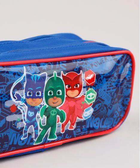 Estojo Escolar Infantil Pj Masks Com Divisorias Azul Cea