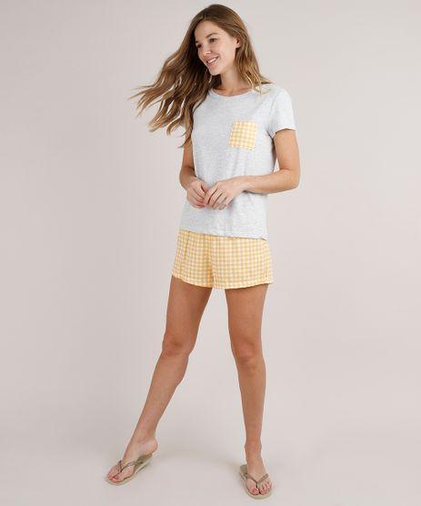 Pijama-Feminino-com-Bolso-Estampado-Xadrez-Vichy-Manga-Curta-Cinza-Mescla-9733176-Cinza_Mescla_1