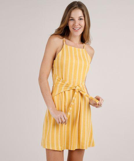 Vestido-Feminino-Curto-Listrado-Com-Amarracao-Alcas-Finas-Mostarda-9824564-Mostarda_1