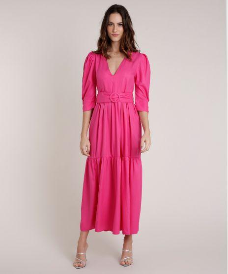 Vestido-Feminino-Mindset-Longo-com-Cinto-Manga-3-4-Pink-9876762-Pink_1