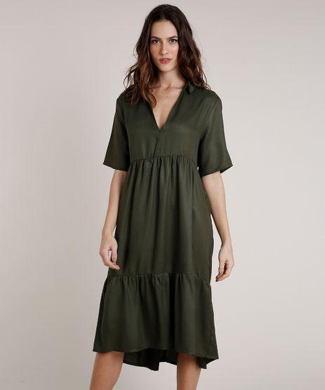Vestido-Jeans-Feminino-Mindset-Midi-com-Recortes-Manga-Curta-Verde-Escuro-9854016-Verde_Escuro_1