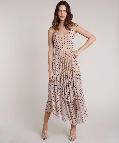 Vestido-Feminino-Mindset-Longo-Estampado-de-Poa-em-Camadas-Alca-Fina-Bege-9857239-Bege_1
