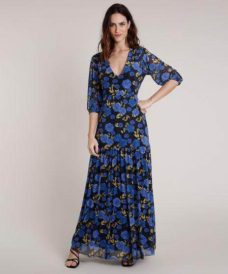 Vestido-Feminino-Mindset-Longo-Estampado-Floral-em-Tule-Manga-3-4-Preto-9861981-Preto_1