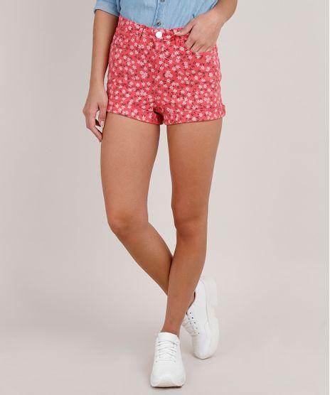 Short-de-Sarja-Feminino-Hot-Pant-Estampado-Floral-Barra-Dobrada-Coral-9833805-Coral_1