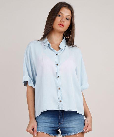 Camisa-Jeans-Feminina-Oversized-Manga-Curta-Azul-Claro-9833553-Azul_Claro_1