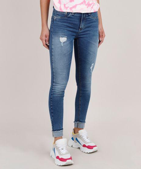 Calca-Jeans-Feminina-Sawary-Cigarrete-Cintura-Alta-com-Brilho-Azul-Medio-9807359-Azul_Medio_1
