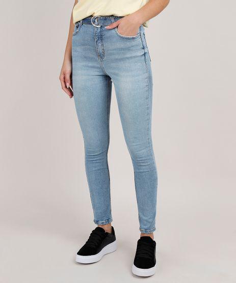 Calca-Jeans-Feminina-Super-Skinny-Cintura-Alta-com-Cinto-Azul-Claro-9833814-Azul_Claro_1