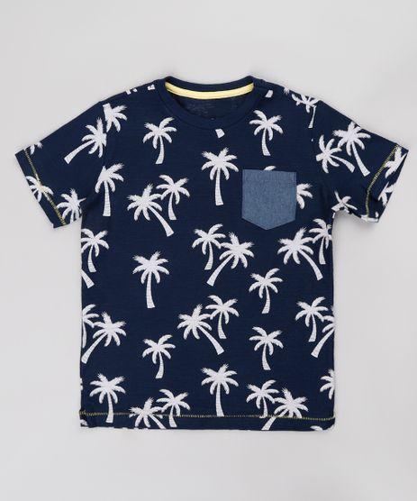 Camiseta-Infantil-Estampada-de-Coqueiro-com-Bolso-Manga-Curta-Azul-Marinho-9758296-Azul_Marinho_1