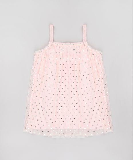 Vestido-Infantil-em-Tule-Estampado-de-Poa-Alca-Fina-Rose-9748632-Rose_1