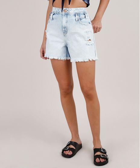 Short-Jeans-Feminino-Cintura-Alta-Destroyed-Azul-Claro-9833800-Azul_Claro_1