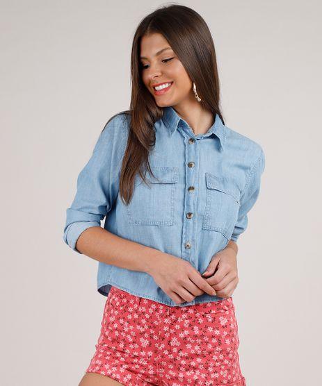 Camisa-Jeans-Feminina-Cropped-com-Bolsos-Manga-Longa-Azul-Claro-9820776-Azul_Claro_1