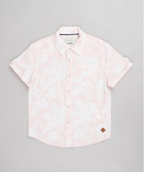 Camisa-Infantil-Estampado-Floral-com-Bolso-Manga-Curta--Rosa-Claro-9671175-Rosa_Claro_1