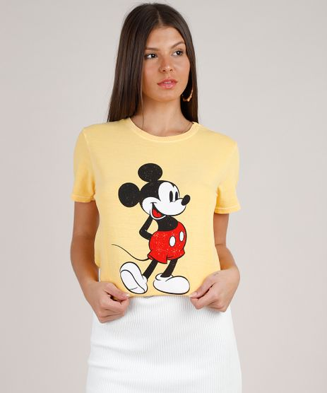Blusa-Feminina-Mickey-Manga-Curta-Decote-Redondo-Amarela-9801377-Amarelo_1