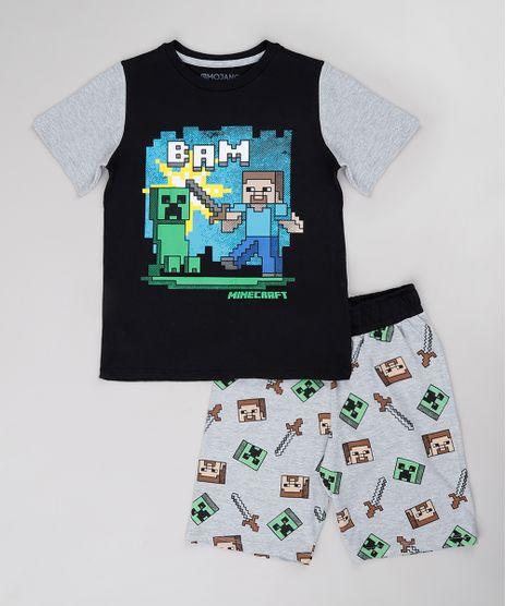 Pijama-Infantil-Minecraft-Manga-Curta-Preta-9751949-Preto_1