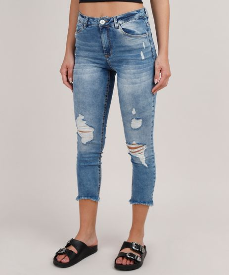 Calca-Jeans-Feminina-Cropped-Destroyed-Cintura-Media--Azul-Medio-9830548-Azul_Medio_1