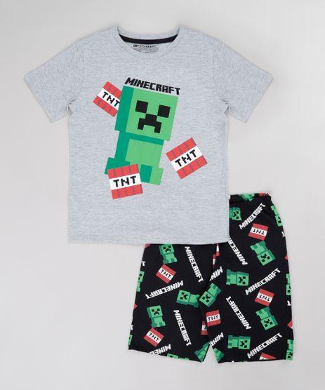 Pijama-Infantil-Minecraft-Manga-Curta-Cinza-Mescla-9751950-Cinza_Mescla_1