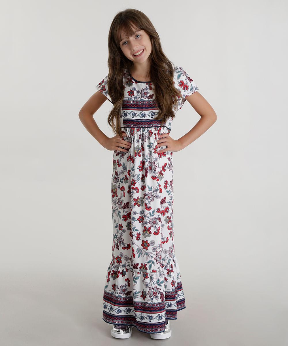66bc17615541 Vestido Longo Estampado Floral Branco - ceacollections