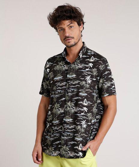 Camisa-Masculina-Tradicional-Estampada-de-Tubarao-Manga-Curta-Preta-9729723-Preto_1