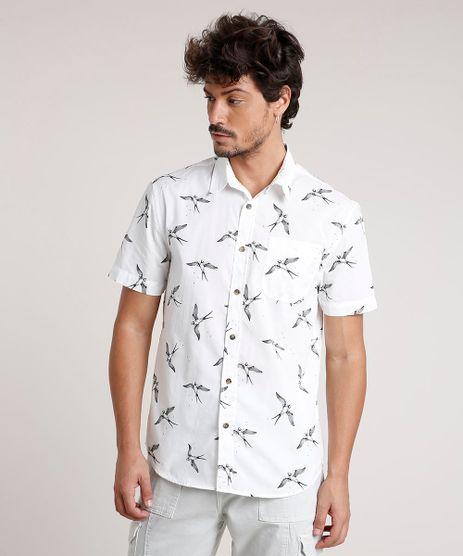 Camisa-Masculina-Tradicional-Estampada-de-Passaros-com-Bolso-Manga-Curta-Off-White-9660417-Off_White_1