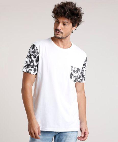 Camiseta-Masculina-com-Bolso-Estampado-de-Coqueiros-Manga-Curta-Gola-Careca-Off-White-9839302-Off_White_1