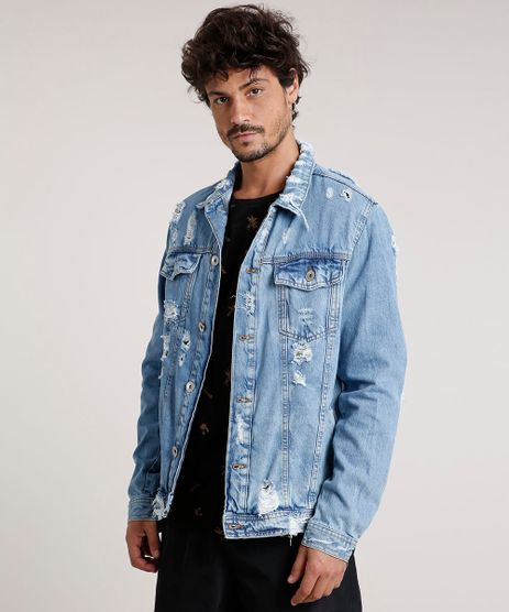 Jaqueta-Jeans-Masculina-Trucker-Destroyed-com-Bolsos-Azul-Claro-9779174-Azul_Claro_1