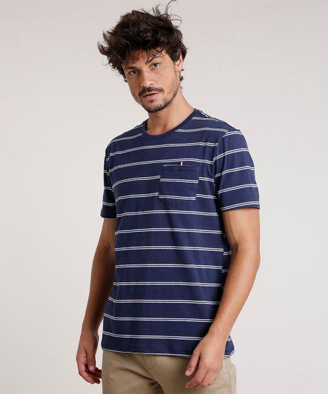 Camiseta-Masculina-Basica-Listrada-com-Bolso-Manga-Curta-Gola-Careca-Azul-Marinho-9733328-Azul_Marinho_1