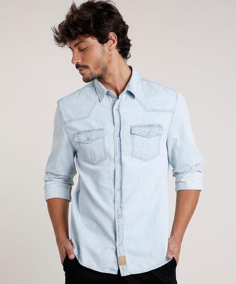 Camisa-Jeans-Masculina-Slim-com-Bolsos-Manga-Longa-Azul-Claro-9814880-Azul_Claro_1