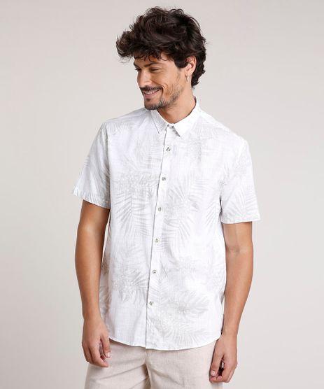 Camisa-Masculina-Tradicional-Estampada-de-Folhagem-Manga-Curta-Off-White-9768646-Off_White_1
