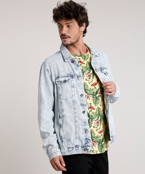Jaqueta-Jeans-Masculina-Trucker-com-Bolsos-Azul-Claro-9814879-Azul_Claro_1